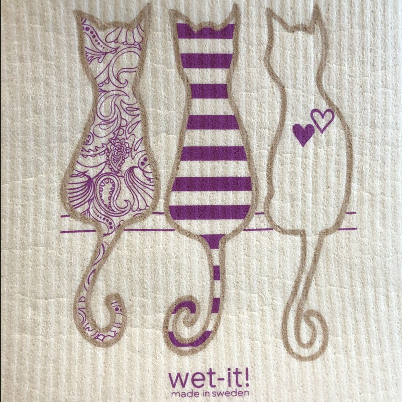 wet-It cloth showing purple cats design
